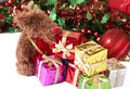 Stack of gift boxes, tinsel and moose Stock Photo