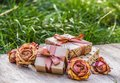Stack of gifts. Gift box with ribbon. Vintage gifts. Dried roses Royalty Free Stock Photo