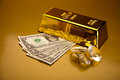 Stack of gold bars ambient financial concept Stock Images