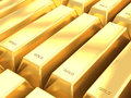 Stack of gold bars background an illustration the side view a Royalty Free Stock Photos
