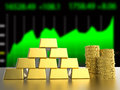 Stack of gold coins and bullions Royalty Free Stock Photo