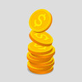 Stack of gold coins with dollar signs Royalty Free Stock Photo