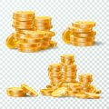 Stack of gold coins. Golden coin pile, money stacks and golds piles isolated vector set Royalty Free Stock Photo