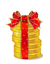 Stack of gold coins with ribbon and bow Stock Image