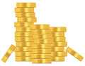 Stack of gold coins on white background Royalty Free Stock Photo