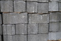 Stack of gray pavement cement bricks texture Stock Photography