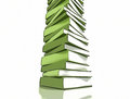Stack of green books on white background comic look Royalty Free Stock Photos