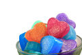 Stack of handmade soaps hearts for valentine day Royalty Free Stock Photography