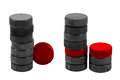 Stack hockey pucks white background Stock Images
