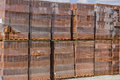 Stack of hollow clay block Royalty Free Stock Photo