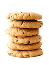 Stack of homemade chocolate chip cookies isolated on white Royalty Free Stock Photo