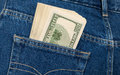 Stack of hundred dollar bills in the jeans pocket back Royalty Free Stock Photography
