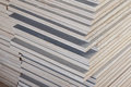 Stack of industrial plywood in construction site Royalty Free Stock Photo