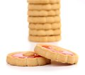 Stack of jam biscuits close up white background Stock Photography