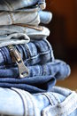 Stack of jeans close up Stock Image