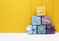 Stack of little present boxes Royalty Free Stock Photo