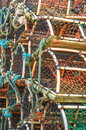 Stack of lobster crab pots traps seafood fishing industry healthy eating and lifestyle Royalty Free Stock Photography