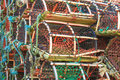 Stack of lobster crab pots traps seafood fishing industry healthy eating and lifestyle Stock Photography