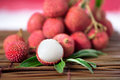 Stack lychee on mat Royalty Free Stock Photo