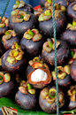 Stack of mangosteen fruit Royalty Free Stock Photos