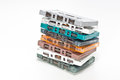 Stack many colors audio cassette tape Royalty Free Stock Photo