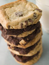 Stack Of Milk And Dark Chocolate Chip Cookies Royalty Free Stock Photo