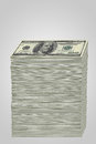 Stack of money a tall us dollar bills Royalty Free Stock Photos