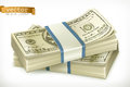Stack of money. Vector icon Royalty Free Stock Photo