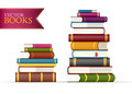 Stack of multi colored books two stacks vector illustration Stock Photos