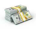 Stack of new new 100 US dollars 2013 edition banknotes (bills) s Royalty Free Stock Photo