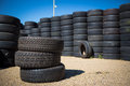 Stack of new tires for sale at a tire store Royalty Free Stock Images