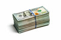 Stack of new 100 US dollars 2013 edition banknote Royalty Free Stock Photo