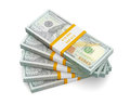 Stack of new 100 US dollars 2013 edition banknotes (bills) s Royalty Free Stock Photo