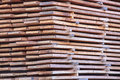 Stack of new wooden at the lumber yard Stock Photography