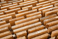 Stack of new wooden studs at the lumber yard Royalty Free Stock Photography