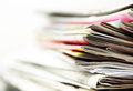 Stack newspapers light background Royalty Free Stock Image