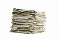 Stack of newspapers on white background Royalty Free Stock Photography