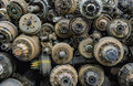 Stack of old axle at junk yard in thailand Stock Photography