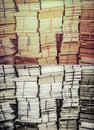 Stack of old books and documents in grunge retro color set Royalty Free Stock Photo