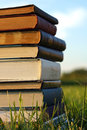 Stack of old books outside a several thick novels and bibles are piled on the grass Royalty Free Stock Photos