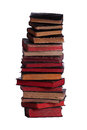 Stack of old books with red page pages on white Royalty Free Stock Images