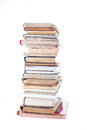 Stack of old books on white background Royalty Free Stock Photography