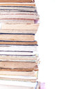Stack of old books on white background Royalty Free Stock Photos