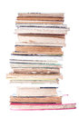Stack of old books on white background Stock Photo