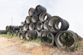 Stack of old concrete drain pipes the at construction site Royalty Free Stock Photography