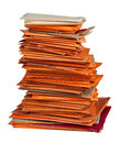 Stack of old envelopes orange Stock Photography