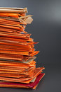 Stack of old envelopes orange Stock Photo