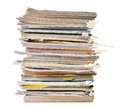Stack of old magazines on white paper recycling Royalty Free Stock Images