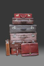 Stack old suitcases luggage Royalty Free Stock Photos