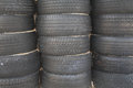 Stack of old tires set Royalty Free Stock Photo
